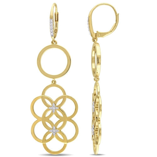 Catherine Malandrino 1/5 CT TW Diamond Circle Linked Floral Drop Leverback Earrings in 18k Yellow Gold Plated Sterling Silver