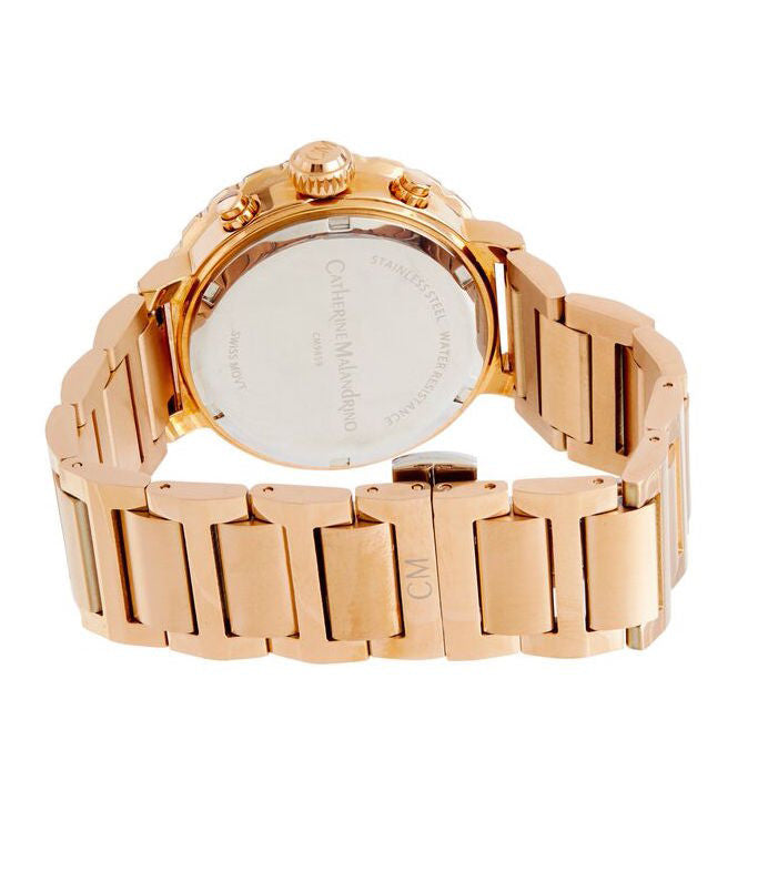 Rose Gold Watch with White Face