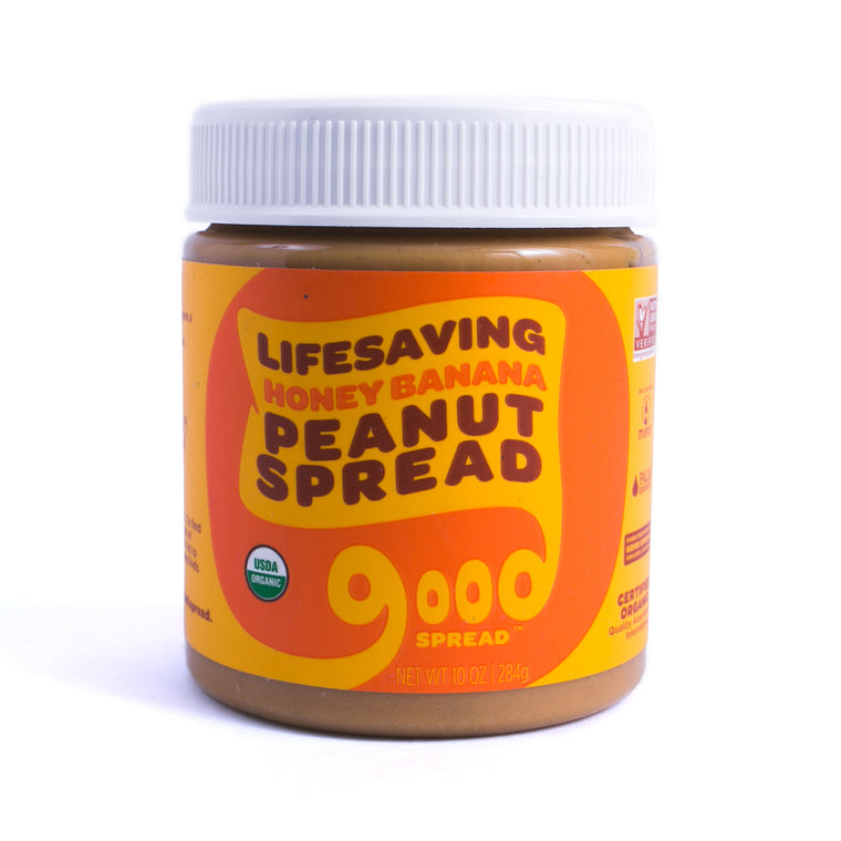 Organic Honey Banana Peanut Spread, 10oz. Jar