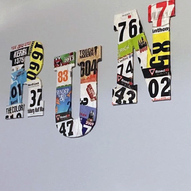What to do with ALL those Bibs:  R-U-N Wall Hanging