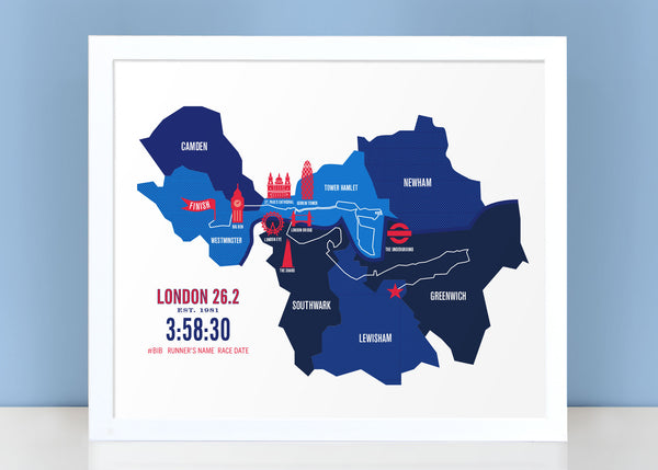 London 26.2 Personalized Marathon Course Map Poster