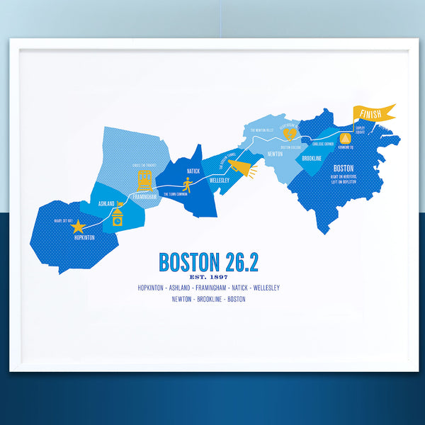 Boston 26.2 Marathon Course Map Poster