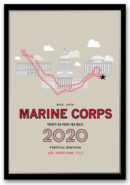 2020 Virtual Marine Corps 26.2 Personalized Marathon Course Map Poster