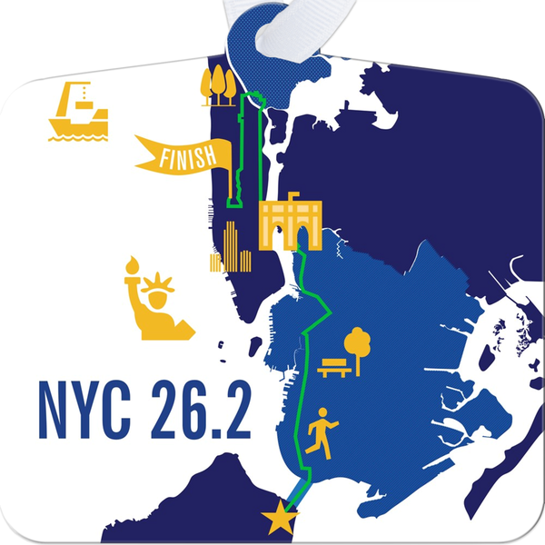 NYC 26.2 Marathon Course Map Ornament