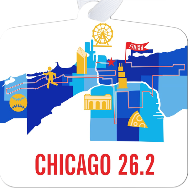 Chicago 26.2 Marathon Course Map Christmas Ornament