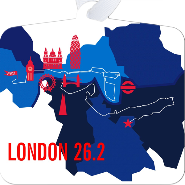 London 26.2 Marathon Course Map Ornament