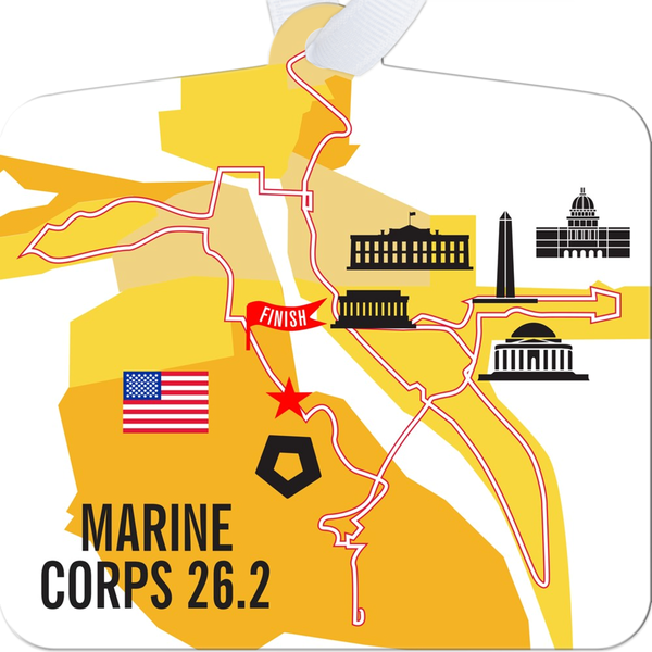 Marine Corps 26.2 Marathon Course Map Ornament