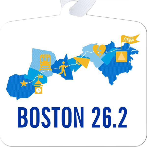 Boston 26.2 Marathon Course Map Ornament