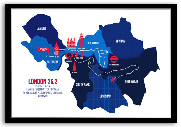 London 26.2 Marathon Course Map Poster