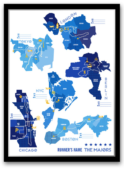 Personalized World Marathon Majors Stat Tracking Poster