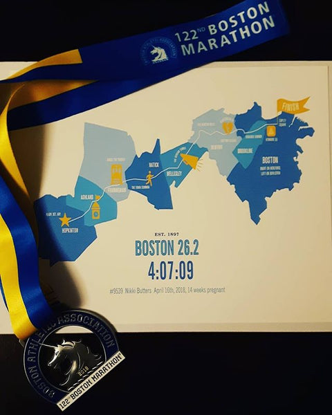 Boston 26.2 Personalized Marathon Course Map Poster