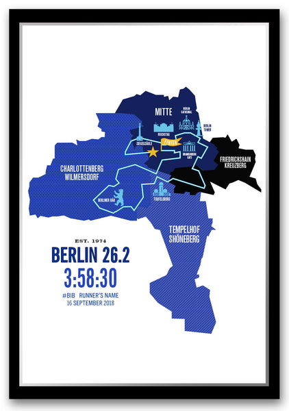 Berlin 26.2 Personalized Marathoner Course Map Poster