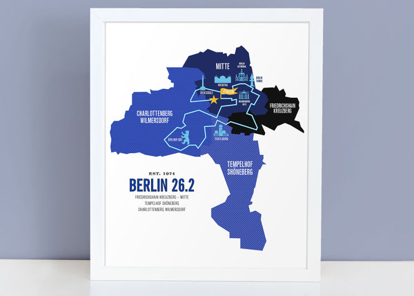Berlin 26.2 Marathoner Course Map Poster