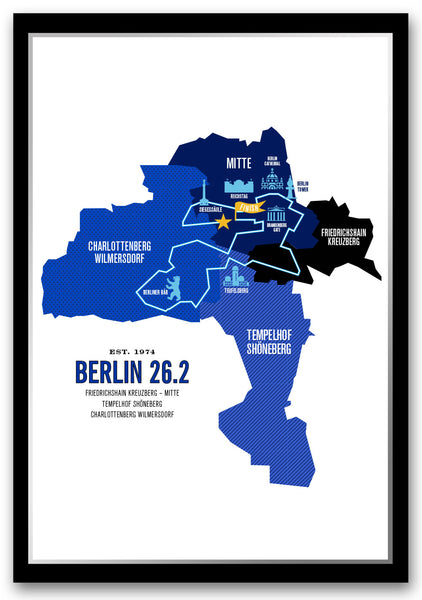 Berlin 26.2 Marathon Course Map Poster