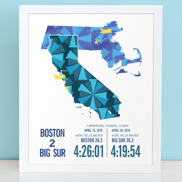Boston to Big Sur Marathoner Map