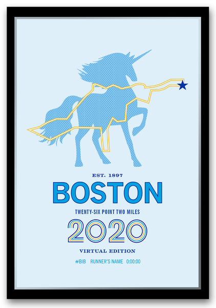 2020 Boston 26.2 Personalized Marathon Course Map Poster
