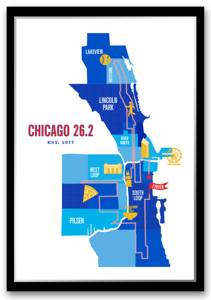 Chicago 26.2 Marathoner Course Map Poster