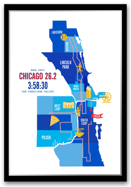 Chicago 26.2 Personalized Marathon Course Map Poster