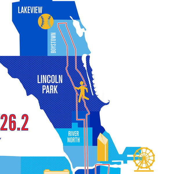 Chicago 26.2 Marathon Course Map Poster