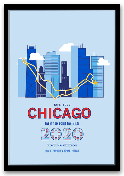 2020 Virtual Chicago 26.2 Personalized Marathon Course Map Poster
