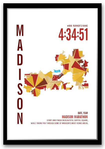 Madison Marathoner Map - Run Ink