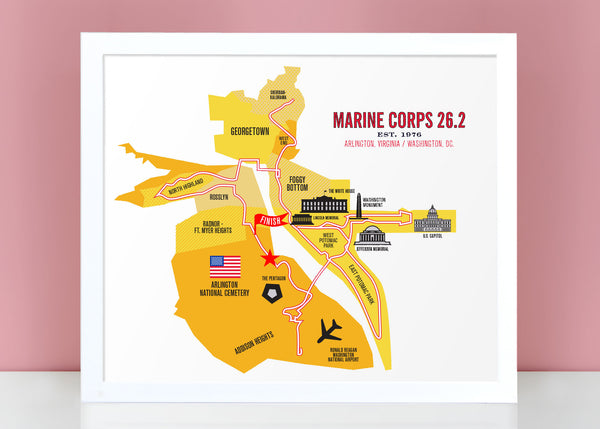 Marine Corps 26.2 Course Marathon Map Poster