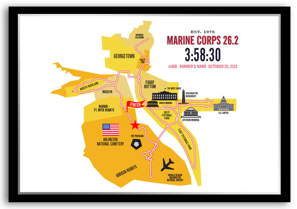 Marine Corps 26.2 Personalized Course Marathon Map Poster