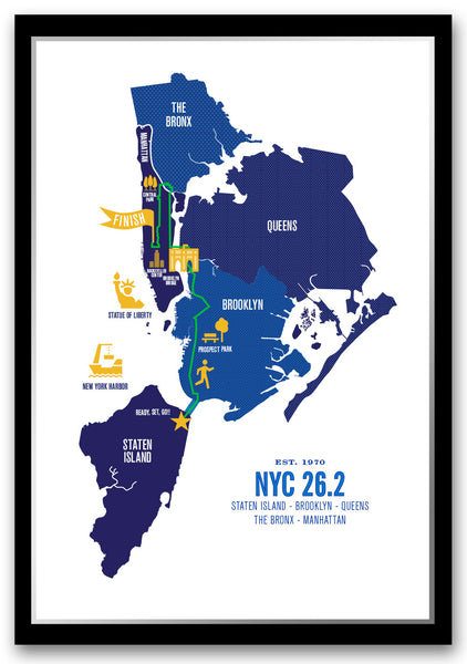 NYC 26.2 Marathoner Course Map Poster