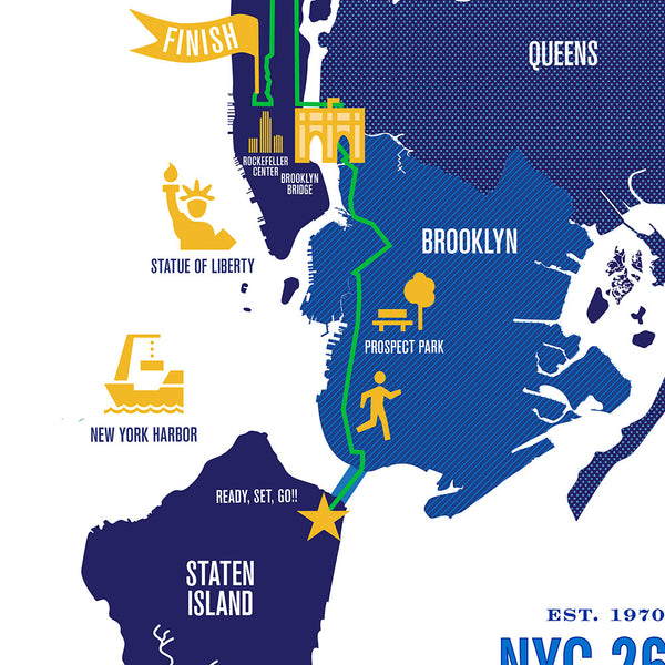 NYC 26.2 Marathon Course Map Poster