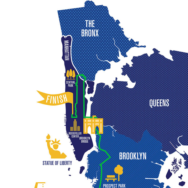 NYC 26.2 Marathon Course Map Personalized Poster