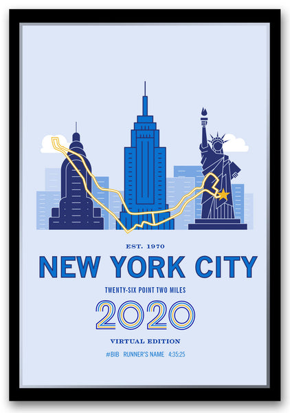 2020 Virtual NYC 26.2 Personalized Marathon Course Map Poster