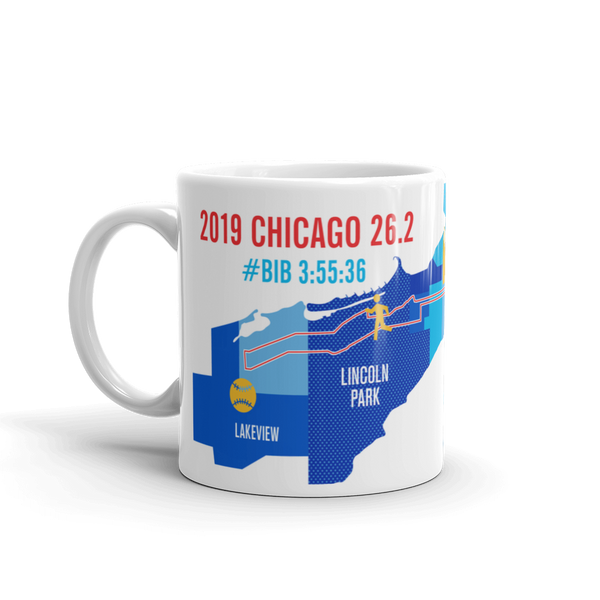 Personalized Chicago 26.2 Marathon Map Course Mug