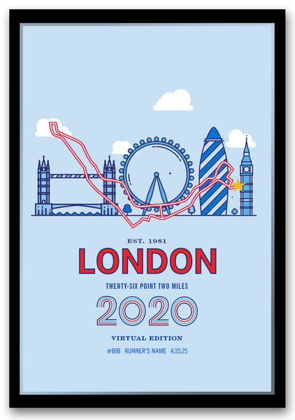 2020 Virtual London 26.2 Personalized Marathon Course Map Poster