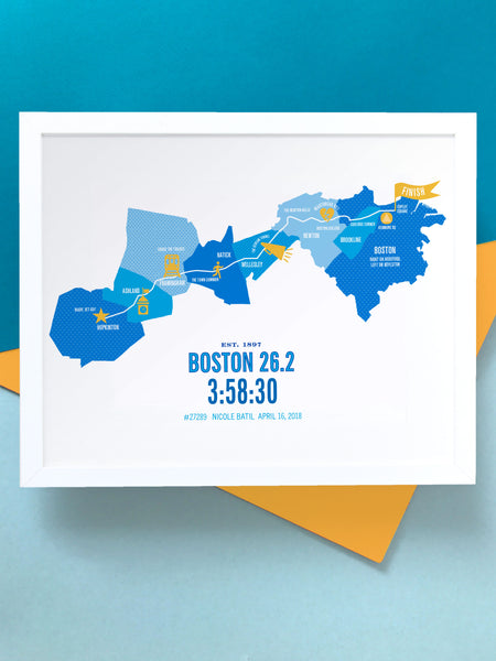 Personalized Boston 26.2 Course Marathoner Map Poster