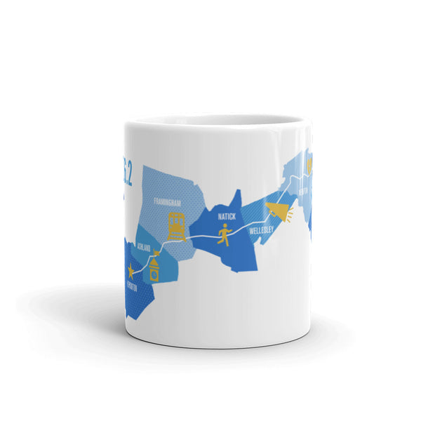 Boston 26.2 Marathon Course Map Mug