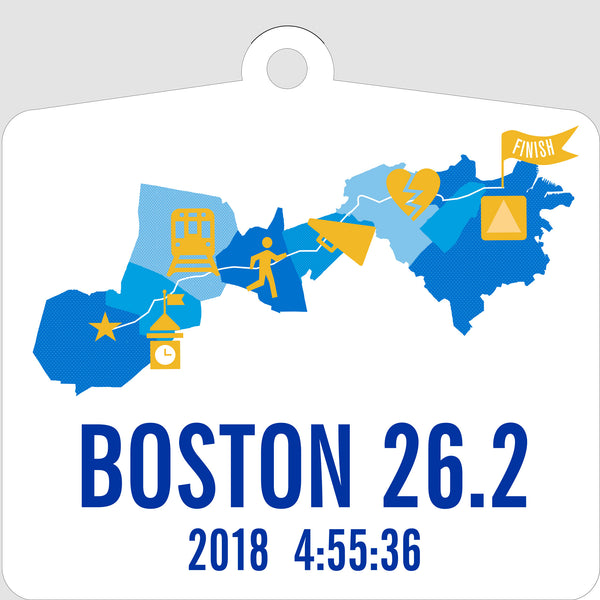 Personalized Boston 26.2 Marathon Course Map Ornament