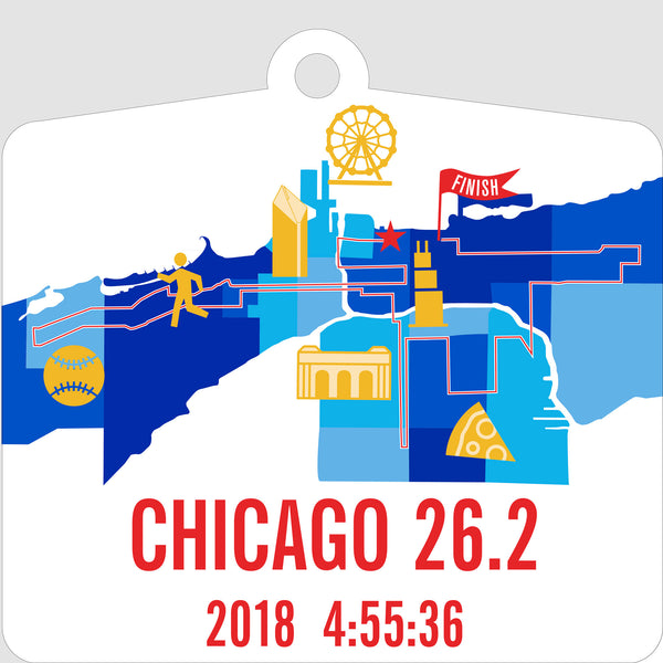 Personalized Chicago 26.2 Marathoner Course Map Christmas Ornament