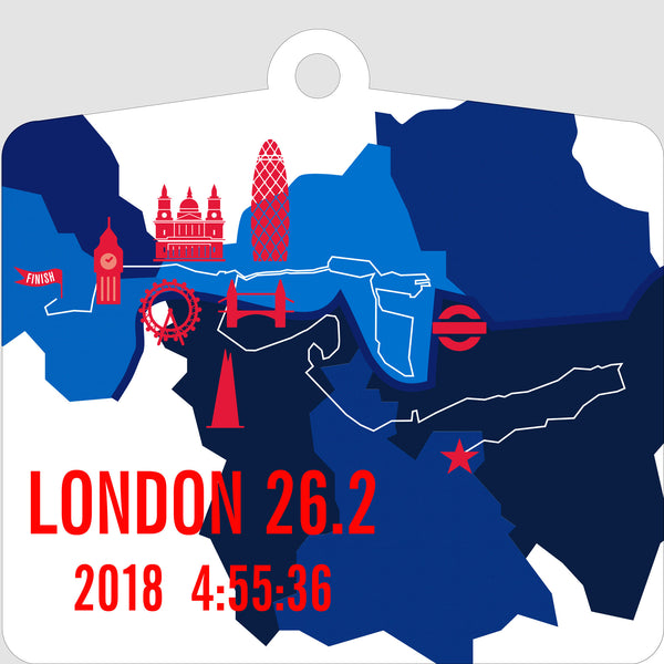 Personalized London 26.2 Marathon Course Map Ornament