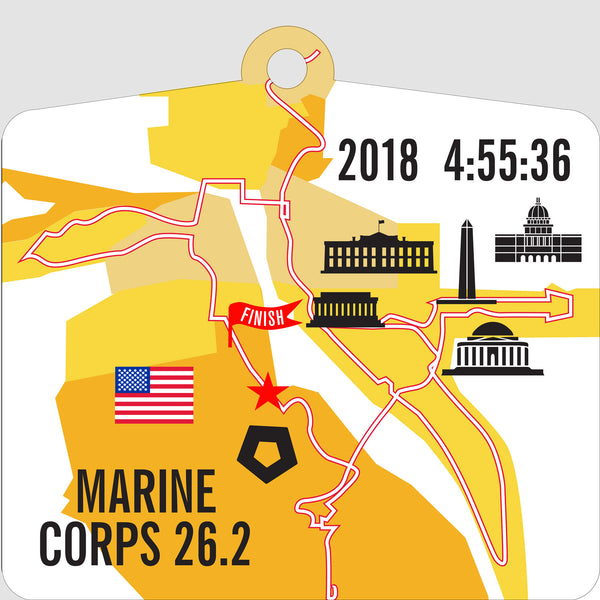 Personalized Marine Corps 26.2 Marathon Course Map Ornament