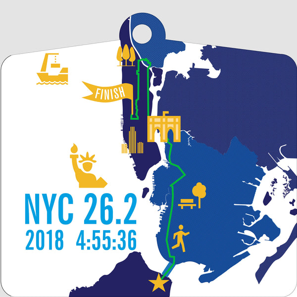 Personalized NYC 26.2 Marathoner Course Map Ornament