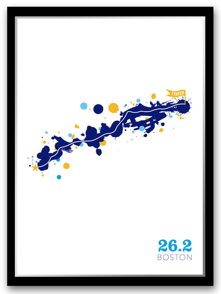 Boston 26.2 course map poster - Run Ink