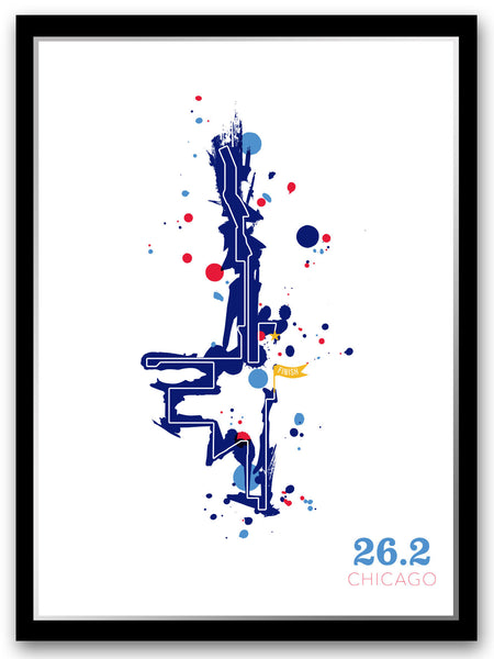 Chicago 26.2 course map poster - Run Ink