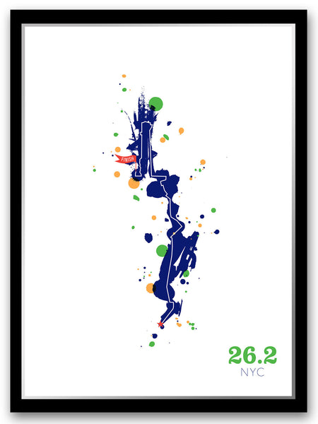NYC 26.2 course map poster - Run Ink