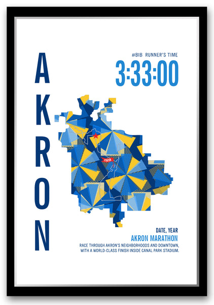Akron Marathoner Map - Run Ink