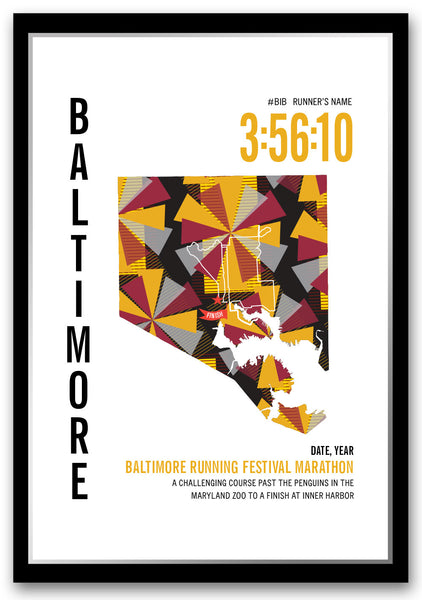 Baltimore Running Festival Marathoner Map - Run Ink