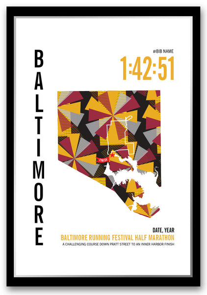 Baltimore Running Festival Half Marathoner Map - Run Ink