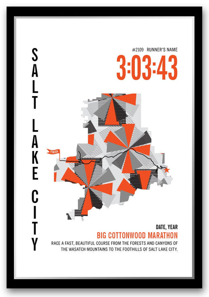 Big Cottonwood Marathoner Map - Run Ink