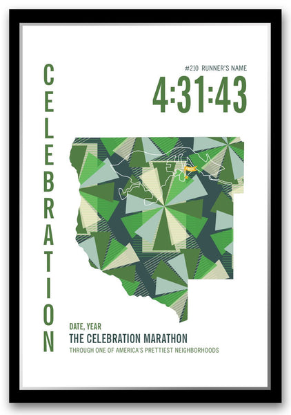 Celebration Marathoner Map - Run Ink