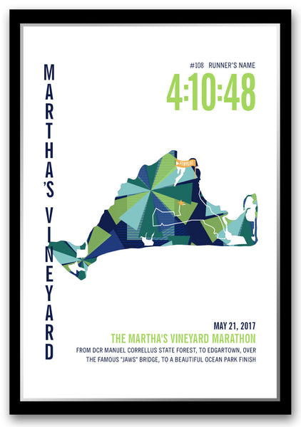 Martha's Vineyard Marathoner Map - Run Ink