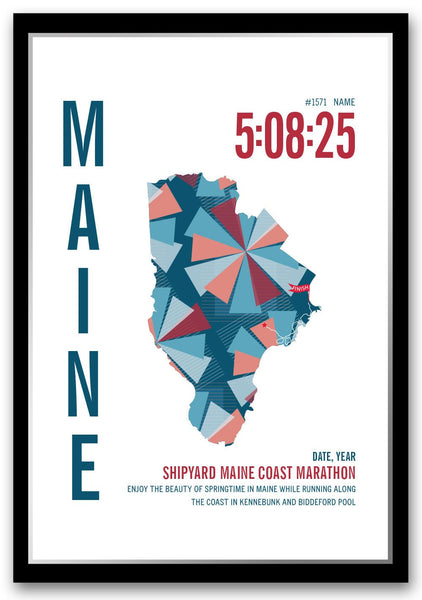 Shipyard Maine Coast Marathoner Map - Run Ink